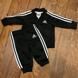 Black Adidas track suit, worn once, 3 mo